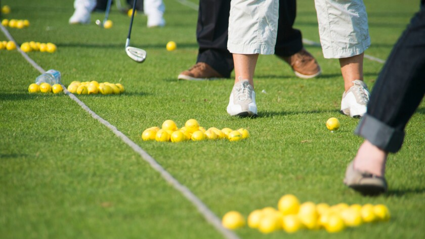 range balls at practice facility on golf course