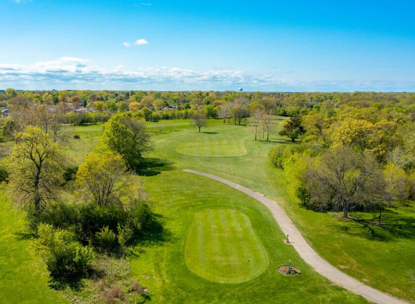 Chick Evans Golf Course Overhead Greens and Trees Drone Photography