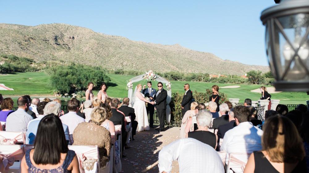 wedding ceremony set up at Arizona National golf course wedding