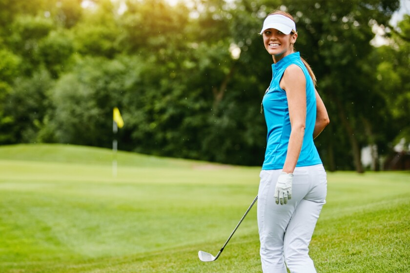 Female golfer on the golf course