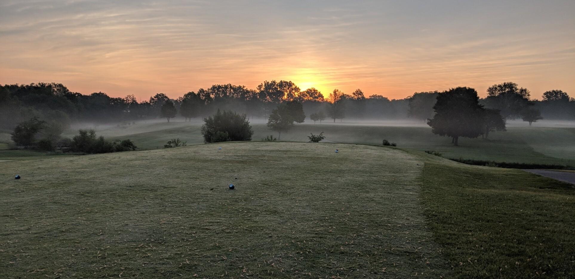 morning fog on golf course at Fellows Creek Golf Club