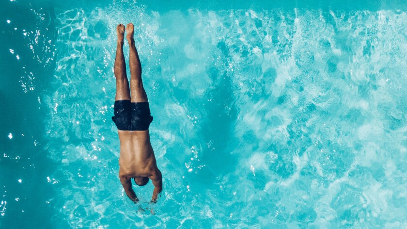 Swimming, Man Diving into Pool
