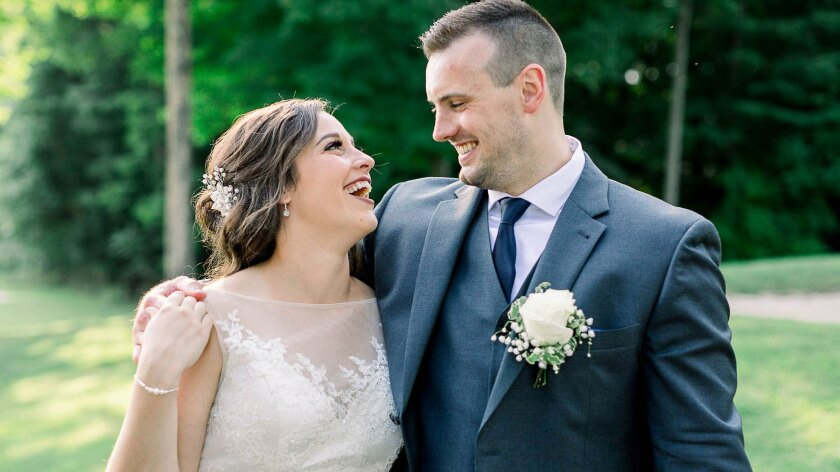 Town of Wallkill Golf Club, Weddings, Lovely Bride and Groom Smiling