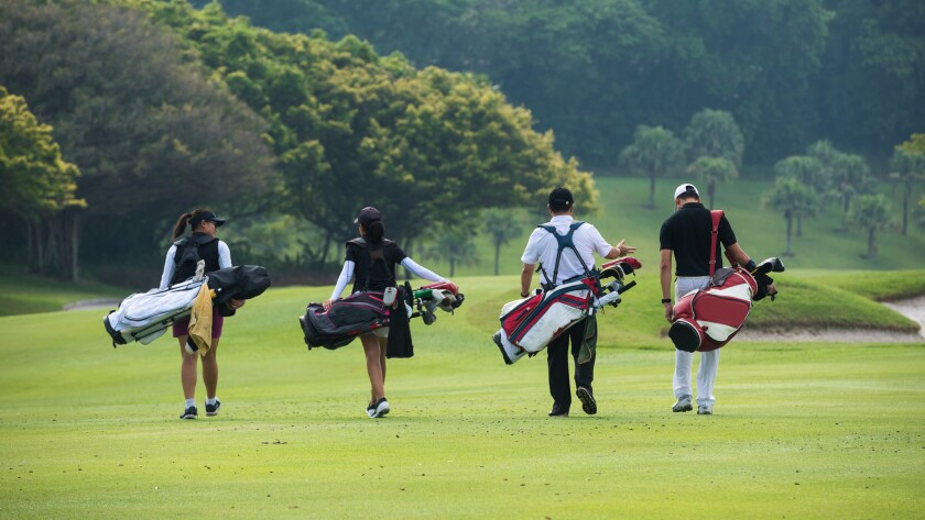 foursome group of golfers for outing event