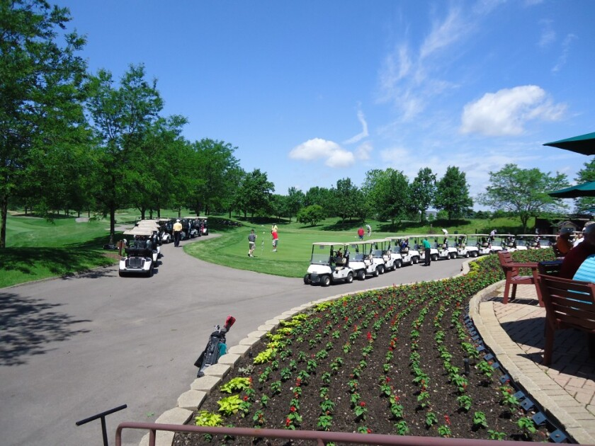 golf carts lined up for outing at orchard valley