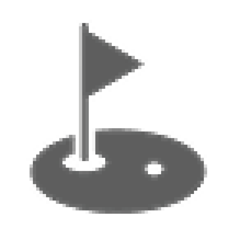 gray golf hole and flag icon