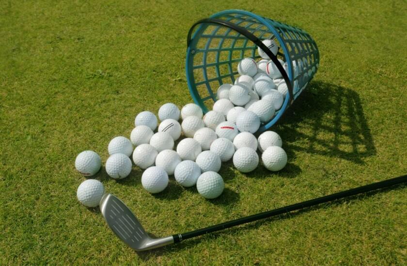 range balls set up at golf practice facility