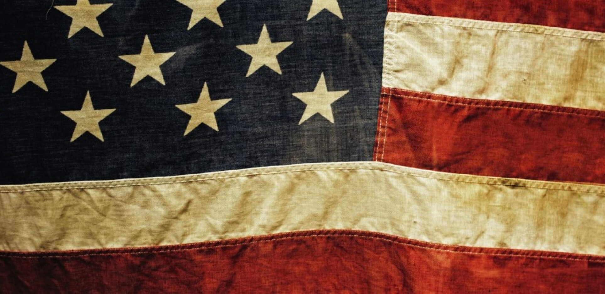 rugged, worn out American Flag