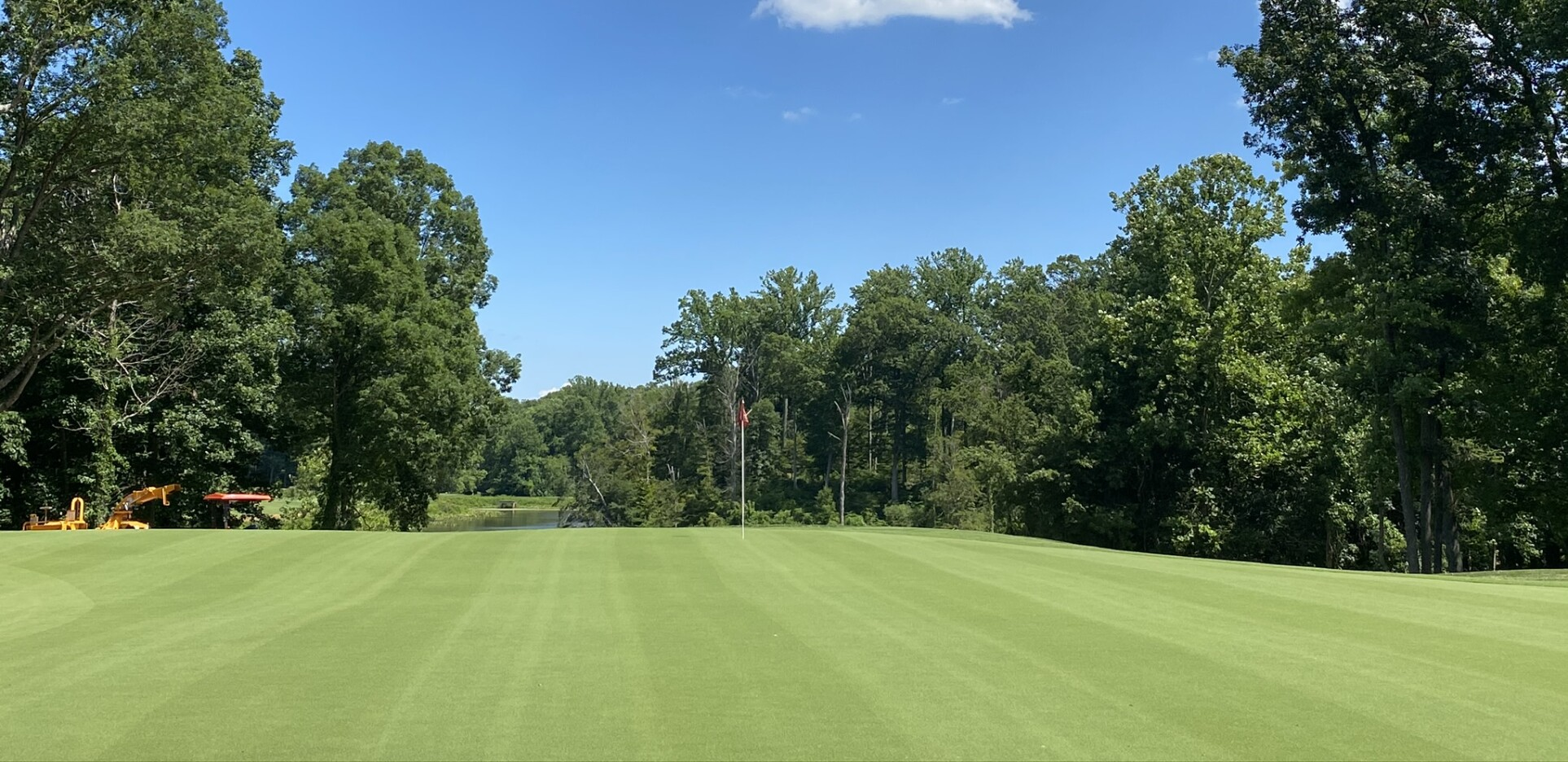 The 2nd green after a mow during the renovation of The Preserve at Eisenhower Golf Club