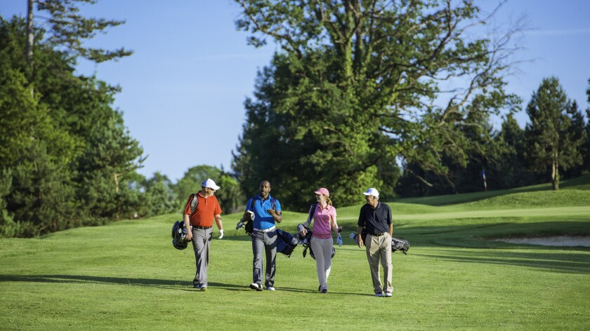 Foursome Playing Golf, Walking Golf Course