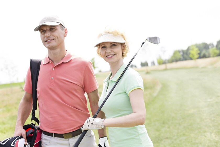 Senior Couple on the golf course