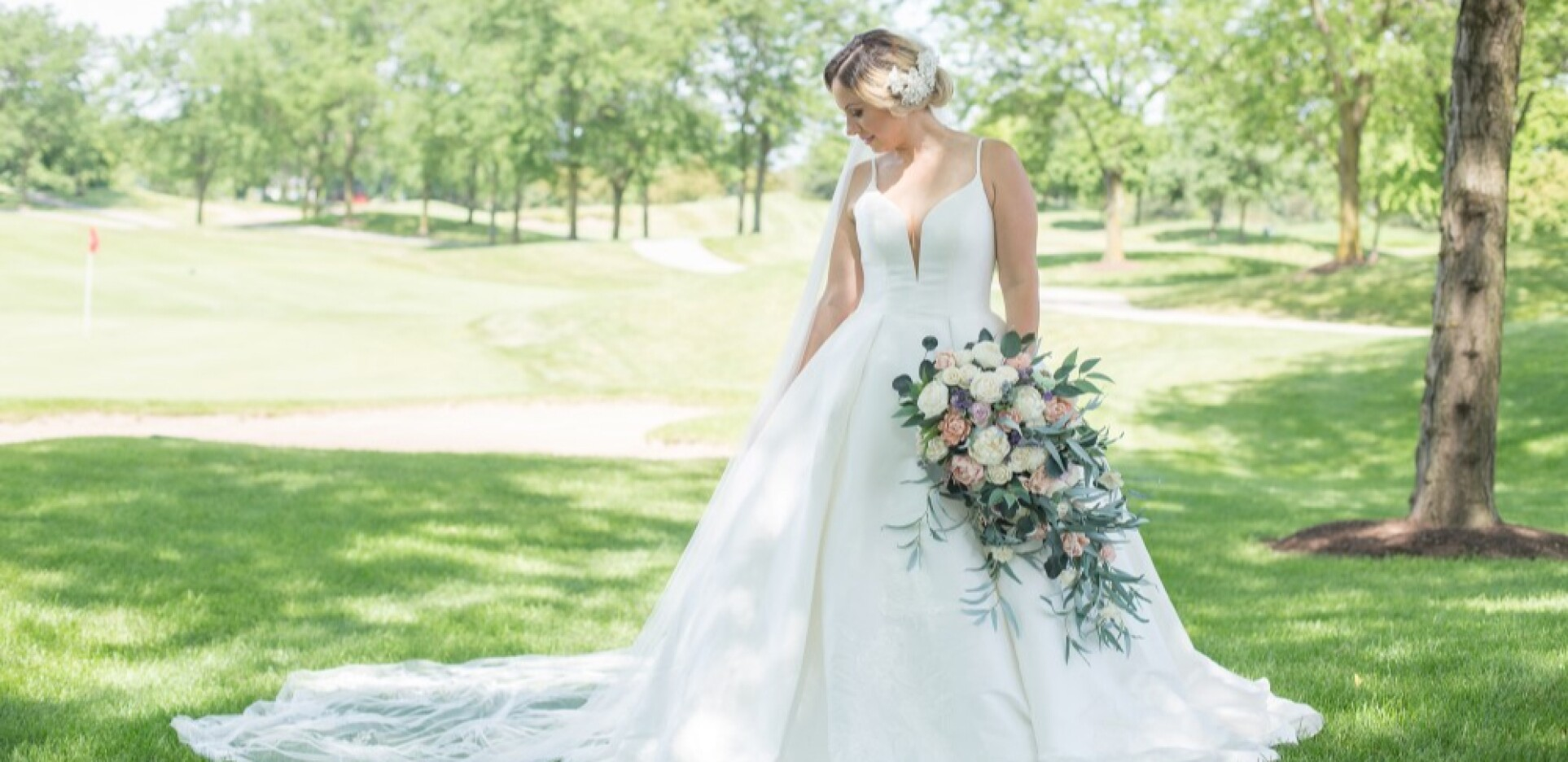 Orchard Valley Golf Course Wedding Bride Near Tent