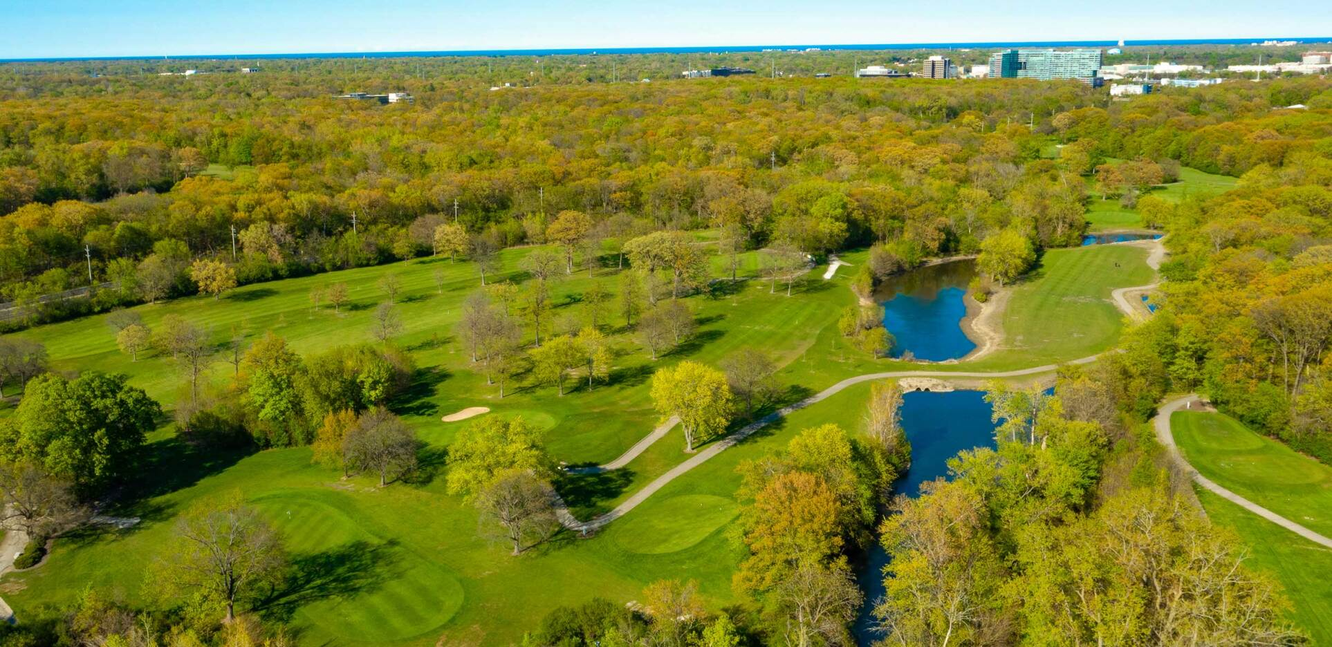 Chick Evans Golf Course Overhead Drone Photography