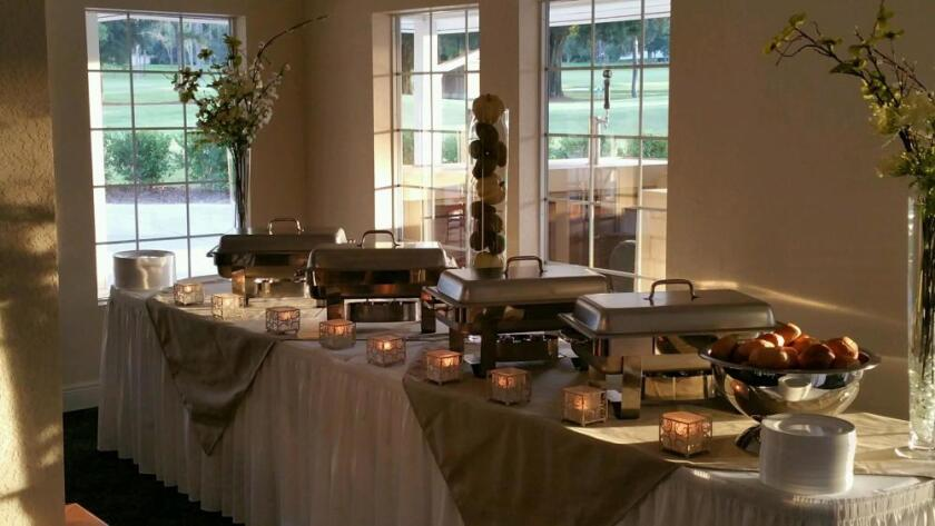 banquet food station set up