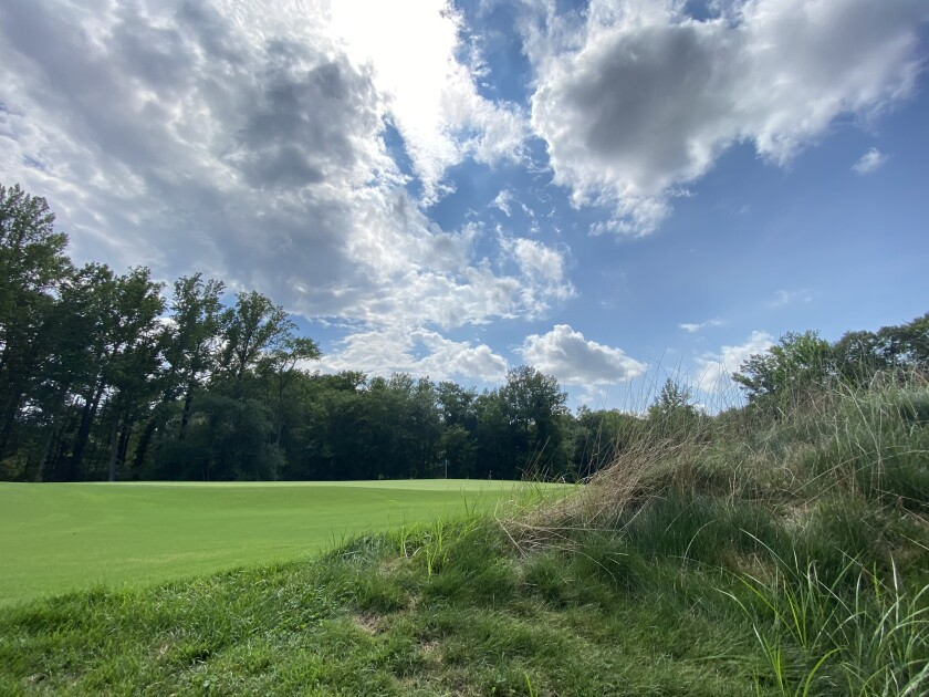 The hummock protecting number 1 green growing its fescue during the renovation of The Preserve at Eisenhower Golf Course