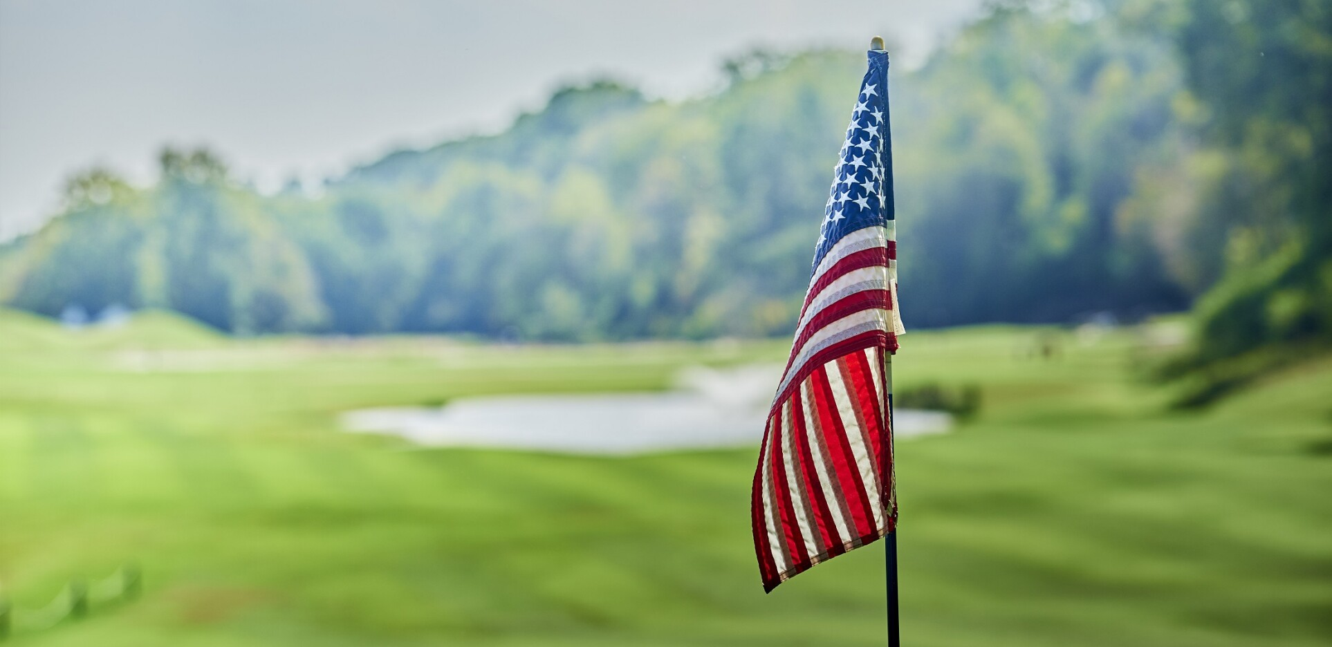 American flag for Military Appreciation at the golf course