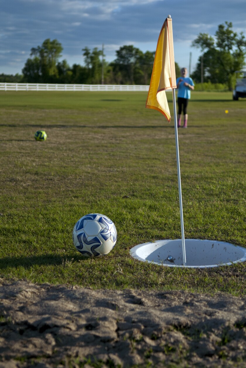 FootGolf flag stick and ball