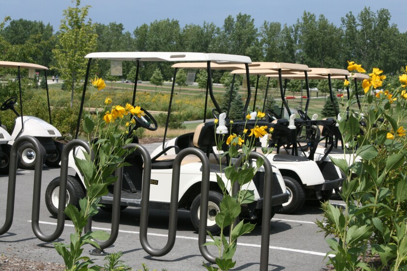 Centennial Park Golf Carts Parked Together with Plants