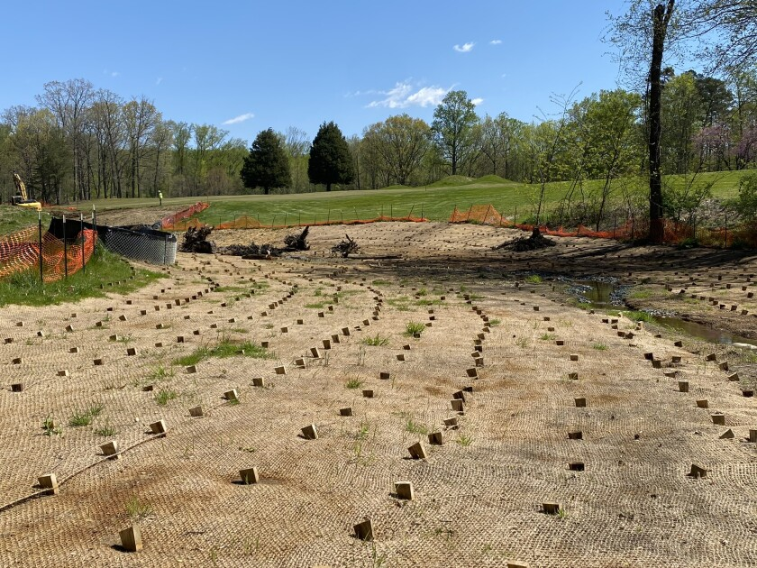 Detail of the stream restoration work as part of the renovation at The Preserve at Eisenhower golf course