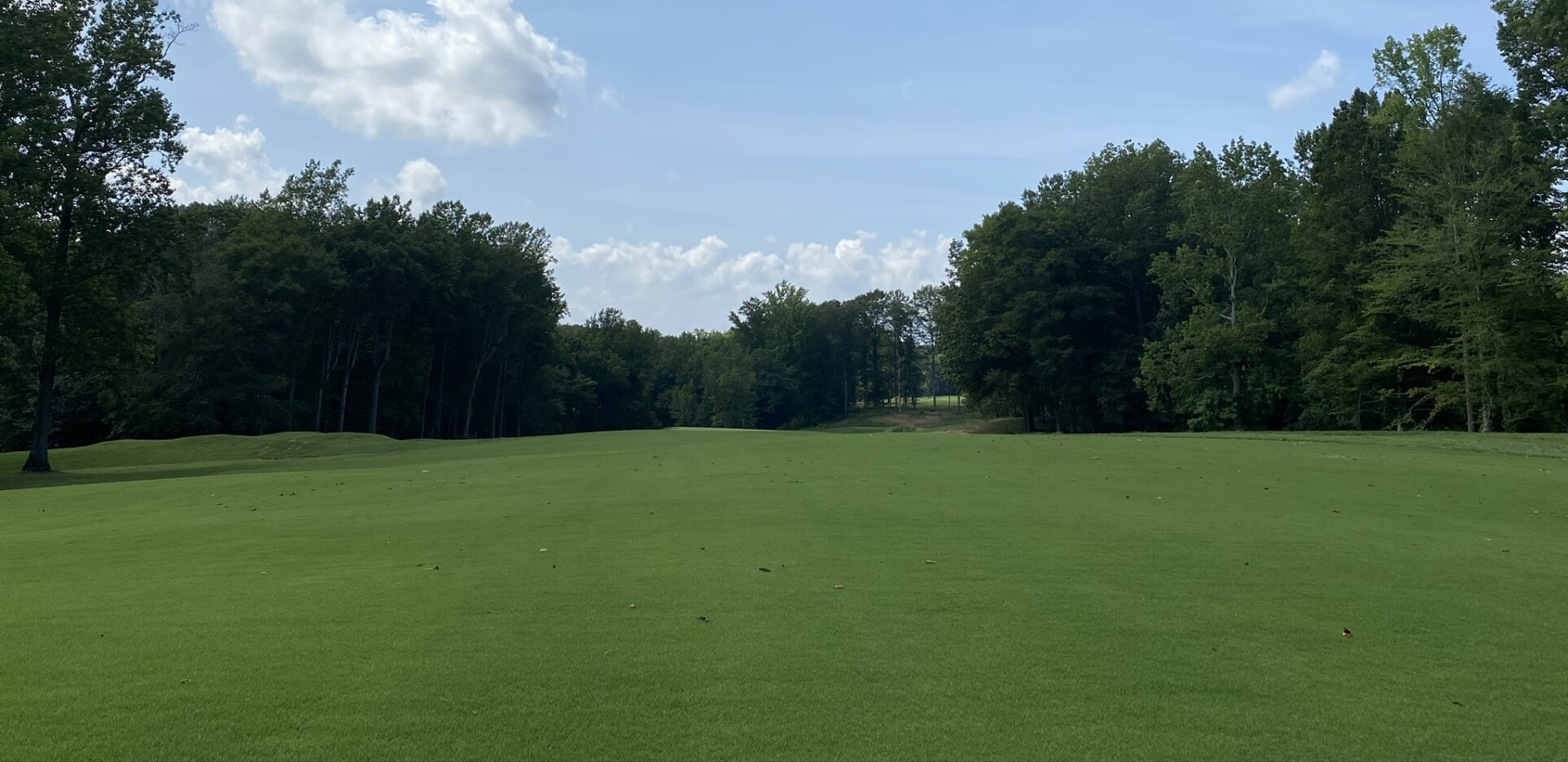 The fairway of hole number 1 being grown in during summer 2020 at the Preserve at Eisenhower Golf Course