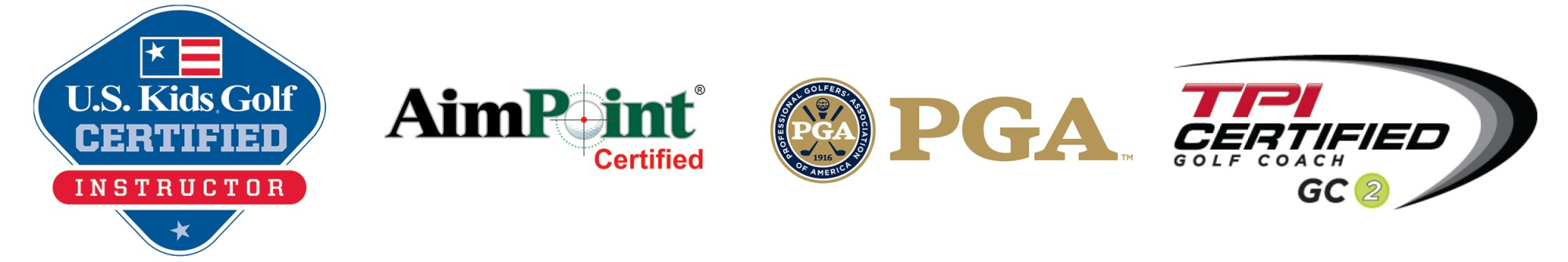 U.S. Kids Golf Certified Instructor, AimPoint Certified, PGA, TPI Certified Golf Coach GC 2